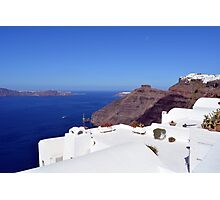 White houses in Santorini, Greece and the blue Aegean Sea. Photographic Print