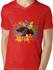 The Bear in autumn forest Mens V-Neck T-Shirt