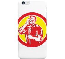 Plumber Shouting Holding Wrench Circle Retro iPhone Case/Skin