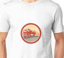 Sewage Drainage Truck Hydro Unit Oval Retro Unisex T-Shirt