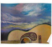 Sunset Guitar Poster