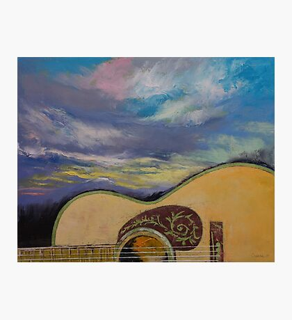 Sunset Guitar Photographic Print