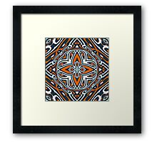 Orange Teal Blue Ethnic Turkish Mosaic Pattern Framed Print