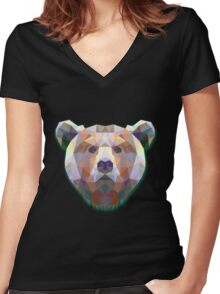 Bear Animals Women's Fitted V-Neck T-Shirt