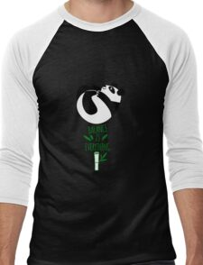 Balance Is Everything! Tumbling panda. Men's Baseball ¾ T-Shirt
