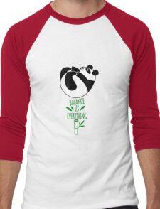 Balance Is Everything! Tumbling panda. Men's Baseball ¾ T-Shirt