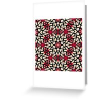 Coral Red Pastel Green Moroccan Mosaic Pattern Greeting Card