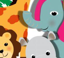 Cute Whimsy Zoo Animal Friends  Sticker