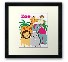 Cute Whimsy Zoo Animal Friends  Framed Print
