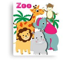 Cute Whimsy Zoo Animal Friends  Canvas Print