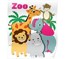 Cute Whimsy Zoo Animal Friends  Poster