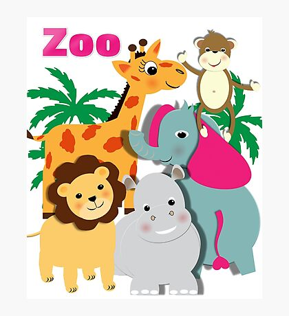 Cute Whimsy Zoo Animal Friends  Photographic Print