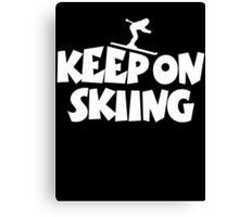 Keep On Skiing 2 White Canvas Print