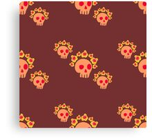pattern with skulls and roses Canvas Print