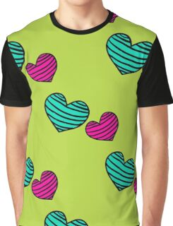 pattern with colorful striped hearts Graphic T-Shirt