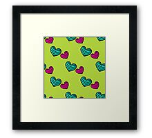 pattern with colorful striped hearts Framed Print