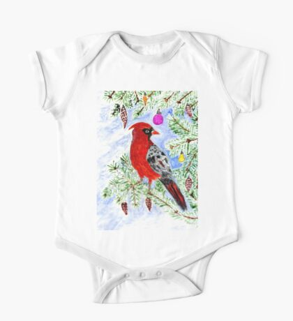 Christmas Red Cardinal One Piece - Short Sleeve