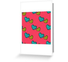 seamless pattern with colorful striped hearts Greeting Card