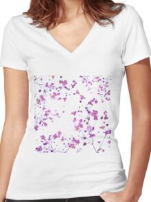 Purple Flowers Women's Fitted V-Neck T-Shirt
