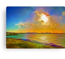 Sunrise at the Marina (Digital Art) Canvas Print