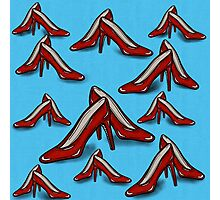 Red Ruby Heels on Sky Blue Linen Photographic Print