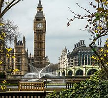 Water Fountain and Big Ben by Sue Martin