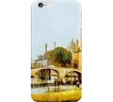 A digital painting of Convent Bridge and spire of Notre-Dame, Bruges, Belgium 19th century iPhone Case/Skin