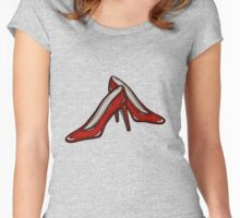 Red Ruby Heels on Sky Blue Linen Women's Fitted Scoop T-Shirt