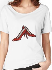 Red Ruby Heels on Sky Blue Linen Women's Relaxed Fit T-Shirt