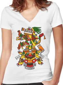 Tlalchi Tonatiuh Women's Fitted V-Neck T-Shirt