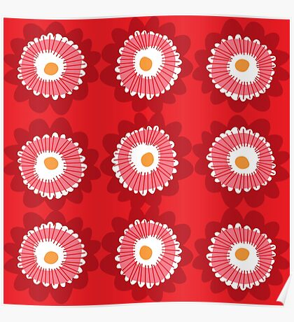 retro mod flowers Poster