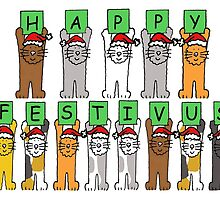 Happy Festivus Cats in Santa hats by KateTaylor