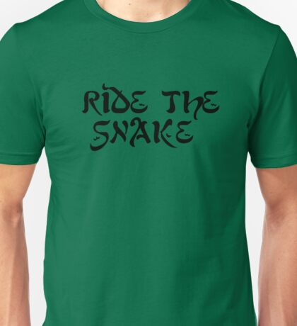 ride the snake the doors song lyrics jim morrison the end rock n roll psychedelic font light my fire hippie t shirts Unisex T-Shirt