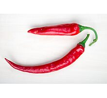 Two red hot chili pepper closeup  Photographic Print