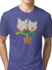 potted Collie Flower dogs Tri-blend T-Shirt