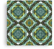 Teal Turquoise Sea Foam Nouveau Deco Pattern Canvas Print