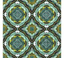 Teal Turquoise Sea Foam Nouveau Deco Pattern Photographic Print
