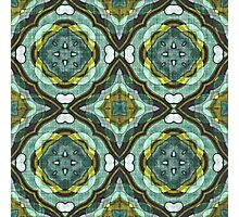 Teal Turquoise Sea Foam Nouveau Deco Pattern Photographic Print