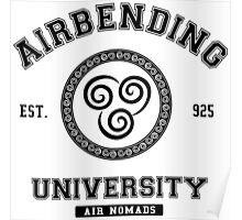 Airbending University Air Nomads -BLACK Poster
