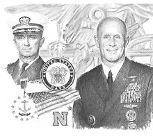 navy vice admiral  retirement drawing by Mike Theuer