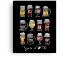 Main types of beer: pale lager, bock, dark lager, wheat, stout, pilsner, brown ale, pale ale, cider, porter, marzen, dunkel Canvas Print