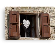 window with heart Canvas Print