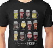 Main types of beer: pale lager, bock, dark lager, wheat, stout, pilsner, brown ale, pale ale, cider, porter, marzen, dunkel Unisex T-Shirt