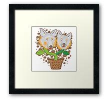 Potted Collie flowers (darker) Framed Print