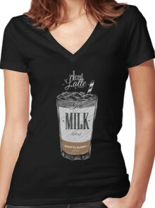 Iced Latte Coffee Women's Fitted V-Neck T-Shirt