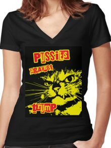 Meow Pussies against Trump Women's Fitted V-Neck T-Shirt