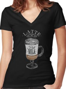 Latte Coffee Women's Fitted V-Neck T-Shirt