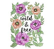 Wild and Free Watercolor Illustration Photographic Print