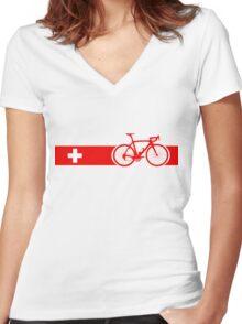 Bike Stripes Switzerland Women's Fitted V-Neck T-Shirt