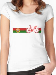 Bike Stripes Portugal  Women's Fitted Scoop T-Shirt